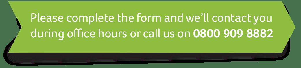 Complete form to arrange callback