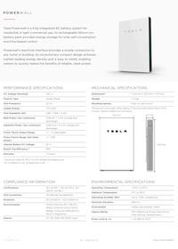 Tesla Powerwall Datasheet - Tesla Powerwall